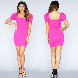 Dresses & Skirts - Hot Pink Puffed Short Sleeve Square Neck Dress